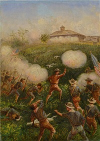 theodore roosevelt and the rough riders storming san juan hill by william de la montagne cary