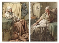 bad news (+ pensive thoughts; pair) by walter langley