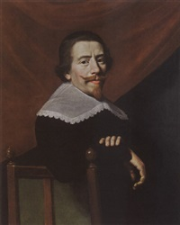 (self-portrait?), wearing a black costume with white lace collar, on a chair, a red curtain behind by jacob van hasselt