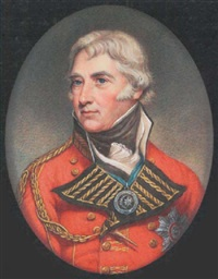 general sir john doyle wearing scarlet coat with gold aiguilette, breast star of the gcb and order of the crescent on a blue ribbon, black stock and white cravat by john smart the younger