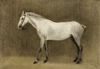 cheval gris pommelé by jean-baptiste-camille corot