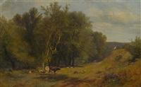 livestock near a river by james mcdougal hart