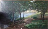 allée d'arbres au bord de la rivière by léon weisse