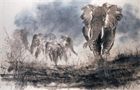 the approaching storm - elephants by chew choon