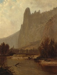a view along the merced river, yosemite valley by harvey otis young