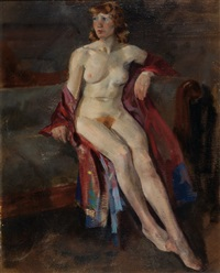 female nude with opened dressing gown by henri frédéric boot
