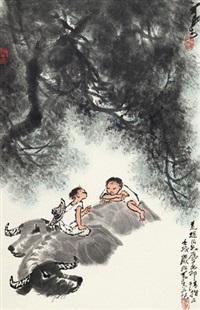 榕荫牧牛图 镜片 纸本 by li keran