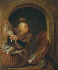 a fish seller at a casement by louis de moni