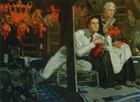 young man telling older woman story in attic by elbert mcgran jackson