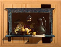 still life with pewter jug with hinged cover and fruit on a pewter dish (trompe-l'oeil) by henri bol