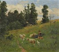 frühlingslandschaft mit junger schafhirtin by hermann hartwich