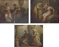 sappho with the lyric poet alcaeus (+ 2 others; set of 3 works) by antonio zucchi