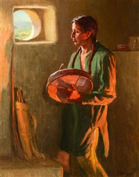 at a pueblo window, taos by joseph henry sharp