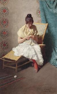junges mädchen in weißem kleid by eduardo galli