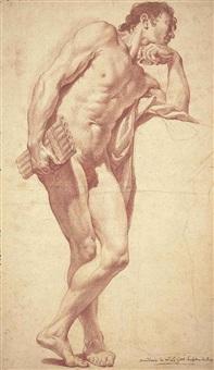 académie d'homme debout, s'appuyant sur un piédestal, et tenant une flûte de pan by pierre legros the younger