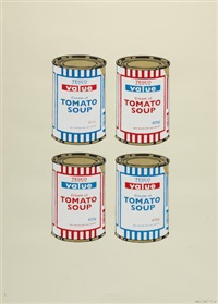 4 soup cans - blue and red on cream by banksy