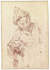 two studies of heads, after veronese by jean antoine watteau