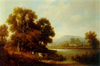 cattle watering with tintern abbey beyond by h. smyth