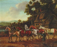 racehorses off for exercise outside an inn by j. freeman