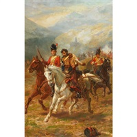 napoleon at waterloo; a prisoner of rank (pair) by robert alexander hillingford