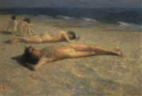 boys relaxing on a beach by julius exter
