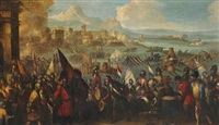 battle scene with a defeated commander surrendering by jacques courtois
