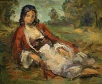 woman in a landscape by leo kahn