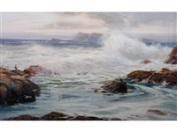 waves crashing against a rock pool with penguins and birds in flight by reginald smith