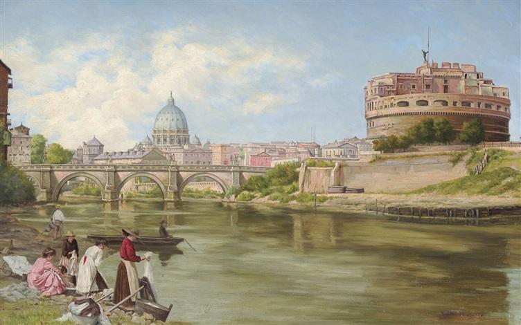 vue sur le tibre à rome avec le château et le pont saint ange by abel boulineau
