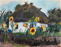 bauernhaus mit sonnenblumen by otto herbig