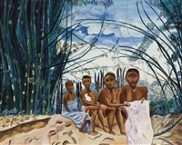 quatre pygméees assis by moseka yogo ambake