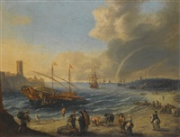 a mediterranean harbor scene with an ottoman barge and other boats, figures on the beach, a rainbow in the distance by cornelis de wael