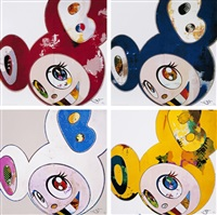 and then x6 red/ and then x6 blue/ and then x 6 (white: the superflat method, pink and blue ears)/ and then x 6 (white: the superflat method, pink and blue ears)/ and then, and then and then and then and then. yellow universe (set of 4) by takashi murakami