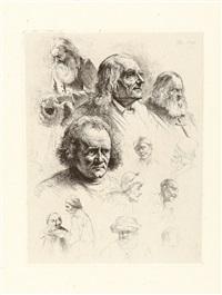 studienblatt mit dreizehn köpfen by jean-jacques de boissieu