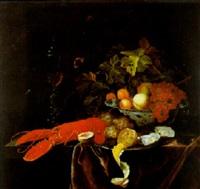 stilleben mit früchten in einer mingschale, einem hummer und einem weinglas auf einem tisch by johannes borman