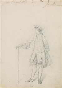portrait de gentilhomme en pied (+ femme assise à l'antique; 2 works) by jacques philippe le bas