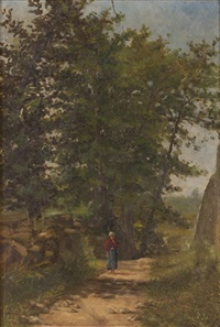 landscape with trees and figure by alfredo keil