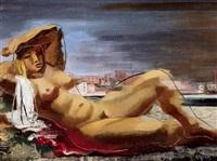 liegender weiblicher akt in einer landschaft by josef gassler