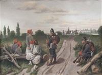 deutsche soldaten bewachen französische nordafrikaner (szene aus dem deutsch-französischen krieg 1870/71) by christian sell