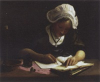 breton girl writing by charles alphonse goldie