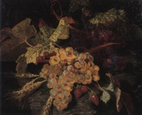 still life of grapes, strawberries and ears of wheat by simon saint-jean