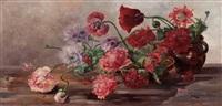 stillleben mit wiesenblumen in töpfen by hermine von janda