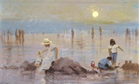 a mother and children on a beach by roy petley
