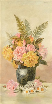 still life fern and roses by hermann dudley murphy