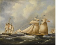 a british topsail schooner in the channel by richard b. spencer