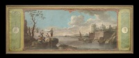 extensive coastal landscape with figures teaching a dog tricks, flanked by trompe-l'oeil portrait medallions by french school