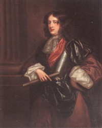 portrait of a gentleman, beside a column, wearing armor by john hayls