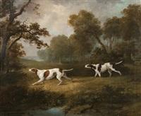 gun dogs in an extensive landscape by dean wolstenholme the elder