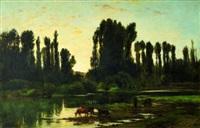 troupeau au bord de la rivière ou le soir dans les îles de créteil by auguste allongé