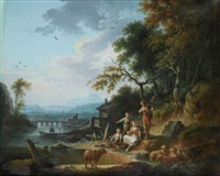 le repos d'une famille de paysans dans un paysage de rivière by jean baptiste charles claudot
